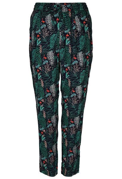 Pantalon en fibranne imprimé feuilles et flamants roses - Vert