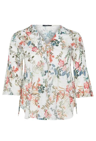T-shirt maille plissé imprimé fleurs - Blanc
