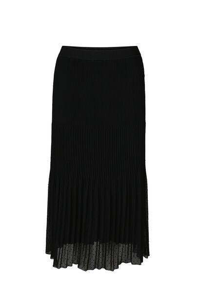 Longue jupe imprimée plumetis - Noir