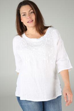 Blouse en lin brodée, Blanc