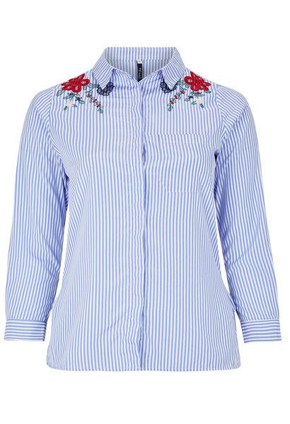 Chemise rayée broderie fleurs - Bleu
