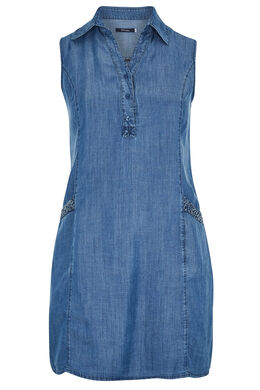 Robe tunique en tencel col chemisier, Denim