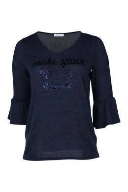 T-shirt en maille chaude avec print, Marine