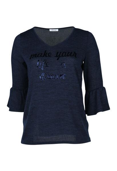 T-shirt en maille chaude avec print - Marine