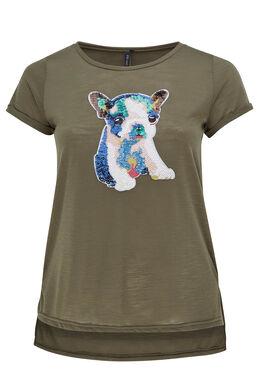 T-shirt tête de chien en sequins, Kaki