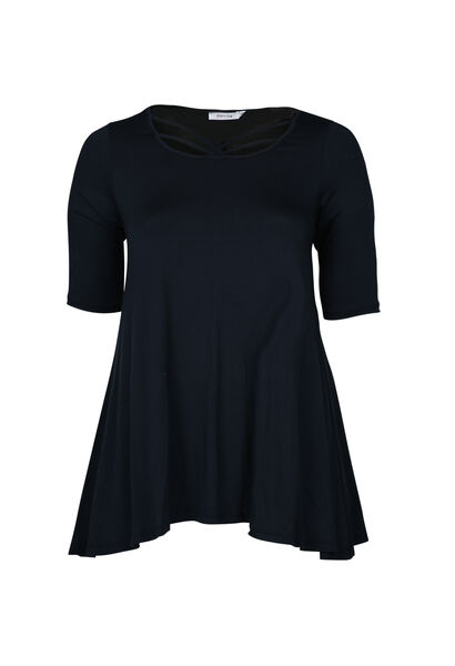 T-shirt en maille viscose encolure croisée - Marine