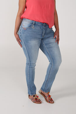Jeans slim avec broderies, Denim