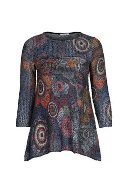Pull tunique effet poilu, multicolor