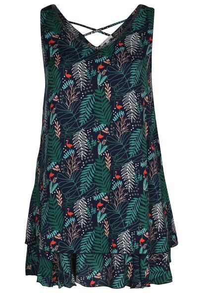Robe sans manches imprimé feuilles et flamants roses - Vert
