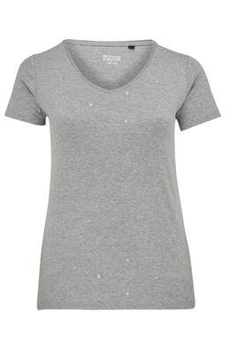 T-shirt imprimé pois en coton bio, Gris Chine