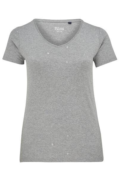 T-shirt imprimé pois en coton bio - Gris Chine