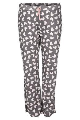 Pantalon de pyjama imprimé de coeurs, Gris