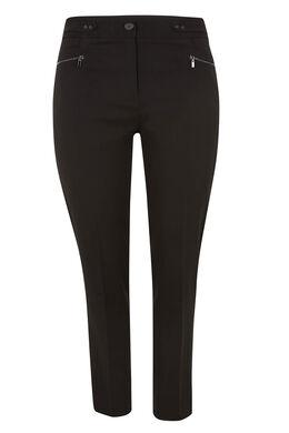 Pantalon en crêpe zip aux poches, Noir