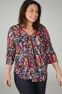 T-shirt imprimé de fleurs, multicolor