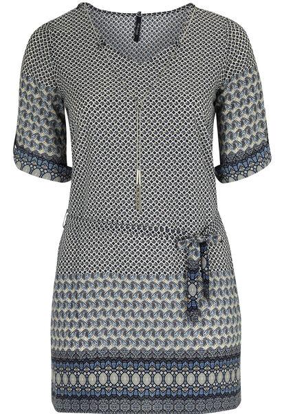 Robe tunique imprimé oriental - Indigo