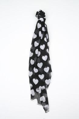 Foulard imprimé cœurs, Noir