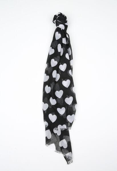 Foulard imprimé cœurs - Noir