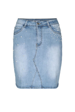 Jupe en jeans avec perles, Denim