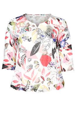 T-shirt maille lin imprimé feuillages, Corail