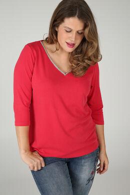 T-shirt encolure col bijou, Rouge