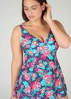 Maillot de bain robe imprimé tropical, multicolor