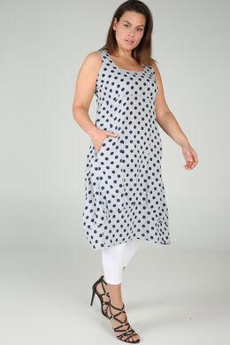 Longue robe en lin imprimé pois, Gris-clair