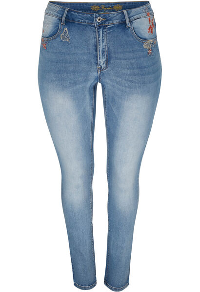 Jeans slim avec broderies - Denim