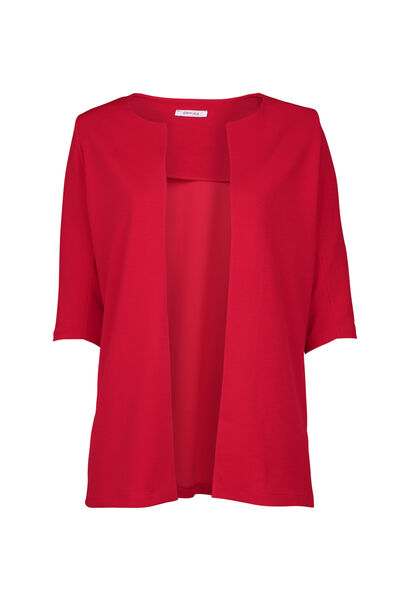 Veste tailleur longue manches 3/4 - Rouge