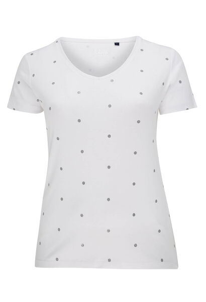 T-shirt imprimé pois en coton bio - Blanc