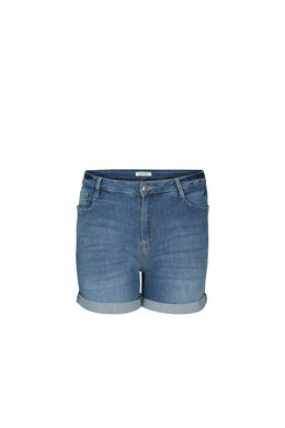 Short en jeans détail d'œillets, Denim