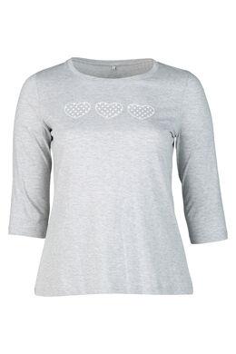 T-shirt imprimé 3 cœurs, Gris Chine
