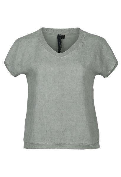 T-shirt devant lin dos en maille - Kaki-clair