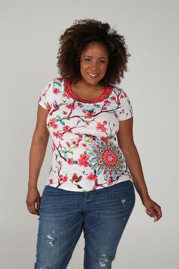 T-shirt imprimé fleuri et oiseaux, multicolor