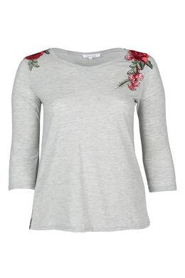 T-shirt brodé de fleurs, Gris Chine