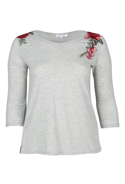 T-shirt brodé de fleurs - Gris Chine