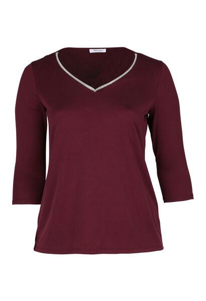 T-shirt encolure col bijou - Prune