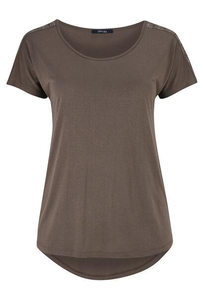 T-shirt en maille avec détails clous - Taupe