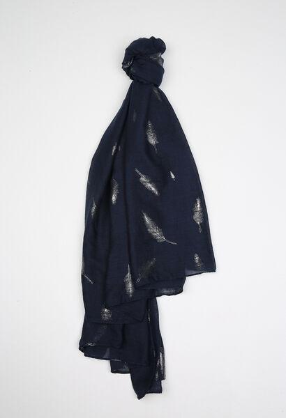 Foulard imprimé de plumes - Marine