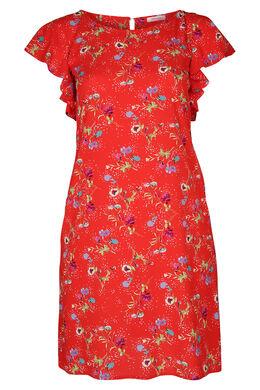 Robe en crêpe imprimé fleurs, Rouge
