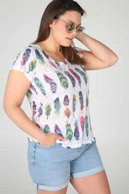 T-shirt en maille dévorée imprimé plumes, multicolor