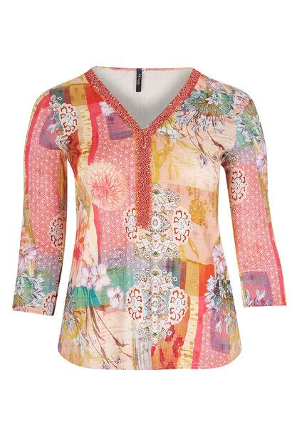 T-shirt maille imprimée encolure perlée - Corail