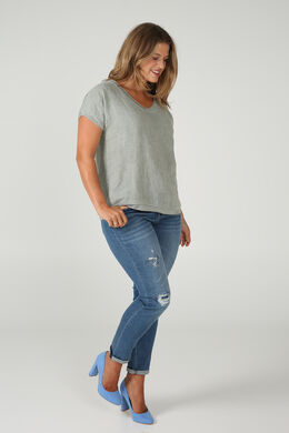 T-shirt devant lin dos en maille, Kaki-clair