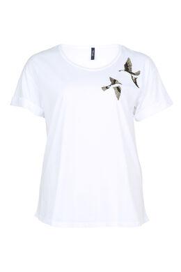 T-shirt brodé oiseaux et sequins, Blanc
