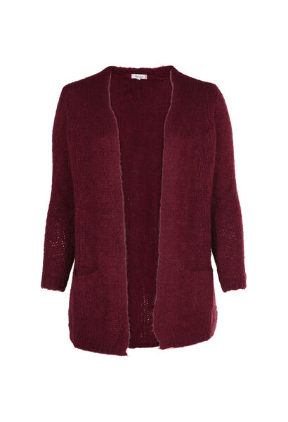 Long cardigan en tricot - Bordeaux