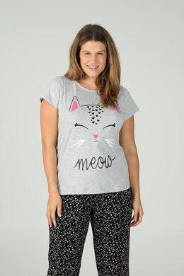 T-shirt imprimé tête de chat, Gris Chine