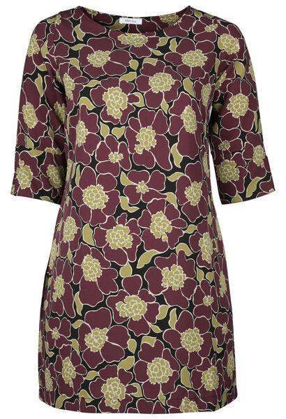 Robe housse imprimé fleuri - Prune
