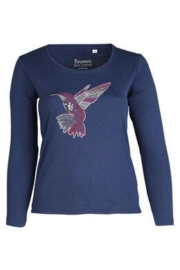 T-shirt en coton bio imprimé colibri, Indigo
