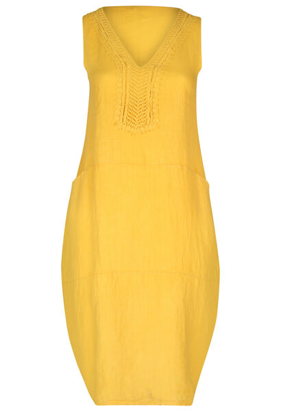 Longue robe en lin - Jaune