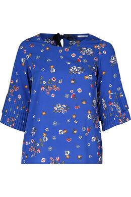 Blouse imprimée de fleurs, Bleu Bic