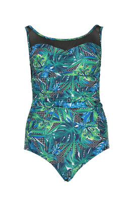 Maillot résille et motif jungle, multicolor